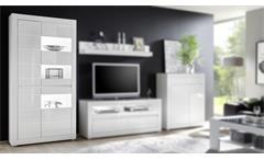 Vitrine Carat Glasvitrine Standvitrine Schrank in weiß Hochglanz und Beton grau