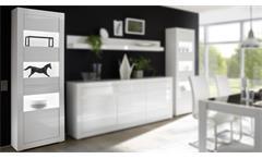 Vitrine Carat Standvitrine Glasvitrine Schrank in weiß Hochglanz und Beton grau