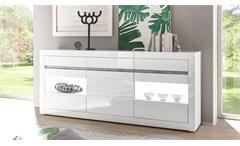 Sideboard Carat Kommode Anrichte Schrank in weiß Hochglanz und Beton grau