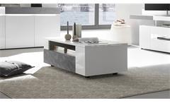 Couchtisch Conzept One Beistelltisch Tisch in weiß Hochglanz Stone grau 110x60