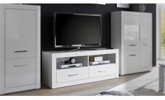 TV-Board Bianco Lowboard Unterschrank Fernsehschrank Kommode in weiß Hochglanz