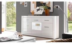 Sideboard Bianco Anrichte Kommode Schrank in weiß Hochglanz mit Glas 164 cm