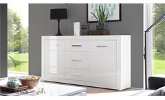 Sideboard Bianco Kommode Anrichte Schrank in weiß Hochglanz mit Glas 164 cm