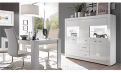 Highboard Bianco Vitrine Buffet Schrank Anrichte in weiß Hochglanz mit Glas
