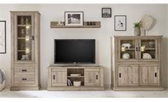 Wohnwand ANTHONY 4-teilig in San Remo dunkel Anbauwand Natur Wohnzimmer Möbel