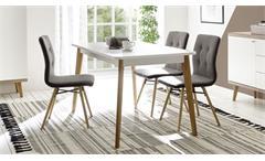 Esstisch Merle Tisch in weiß matt und Eiche Riviera Esszimmertisch ausziehbar