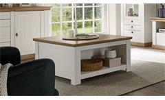 Couchtisch Landhaus Tisch in Pinie weiß und Eiche Wohnzimmer Tisch Landhausstil