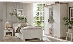 Bett Florenz Bettgestell Einzelbett Schlafzimmer in Oslo Pinie weiß 100x200 cm