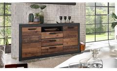 Sideboard 51 Brooklyn Anrichte Kommode Wohnzimmer Matera grau und Old Mix braun