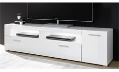 Lowboard TV-Board TV-Schrank Corado HiFi TV-Bank weiß Hochglanz modern 180 cm