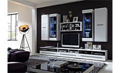 Wohnwand HIT weiß Hochglanz lackiert Glasrahmen schwarz