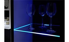 Wohnwand Hit MDF weiß hochglanz Anbauwand mit LED Beleuchtung