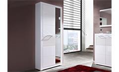 Garderobenschrank Life in Weiß Tür in Hochglanz und Spiegel
