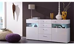 Sideboard Wohnzimmer Esszimmer Schrank weiß hochglanz mit LED