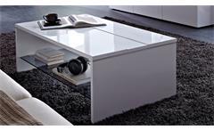 Couchtisch Manhattan Tisch Wohnzimmer in weiß hochglanz mit Glasablage