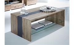 Couchtisch DEAL Tisch in San Remo Eiche Dekor mit Glasboden