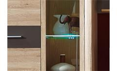 Wohnwand Bimo 1 Anbauwand in San Remo Eiche und Hochglanz Graphit inkl. LED