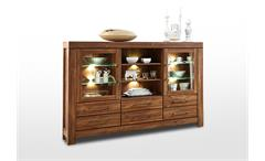 Highboard Gent Buffet Vitrine Schrank Stauraumelement in Akazie dunkel inkl. LED