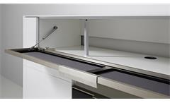 Media-Sideboard MEDIAN Mediaboard Kommode weiß Hochglanz und Akustikstoff grau