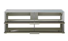 TV-Board Median weißes Lowboard Unterschrank mit grauem Akustikstoff inkl. LED