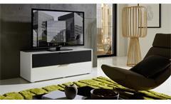 TV-Board Median Unterteil Lowboard Unterschrank in weiß Hochglanz und grau Stoff
