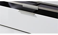 TV-Board Median Lowboard Unterschrank in Weiß Hochglanz mit grauem Akustikstoff