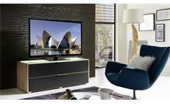 TV-Board MEDIAN Unterteil Lowboard Eiche und grau inkl. LED