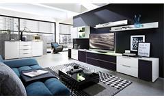 Wohnwand 1 Median Anbauwand Wohnkombi Set weiß Hochglanz inkl. LED Akustikstoff