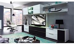 Wohnwand 3 MEDIAN Anbauwand weiß Hochglanz inkl. LED und Akustikstoff