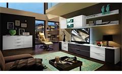 Wohnwand 3 Median Anbauwand Wohnkombi weiß Hochglanz mit Akustikstoff inkl. LED