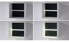 Wohnwand 4 Median Anbauwand Wohnkombi weiß Hochglanz mit LED Akustikstoff grau