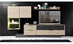 Wohnwand 6 Median Anbauwand Wohnkombi in Eiche und grau inkl. LED