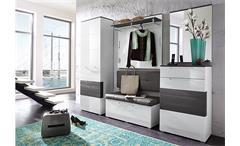 Garderobenschrank Reno Wandpaneel Paneel Flurpaneel in  weiß Hochglanz und grau