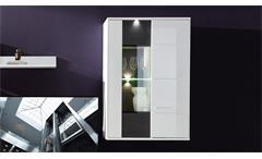 Hängevitrine Clou Virine Hängeschrank in weiß Hochglanz anthrazit und LED