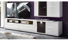TV-Unterschrank Clou Lowboard TV-Board in weiß Hochglanz und anthrazit mit LED