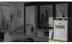 Schuhschrank 1 Modena Garderobe Schrank Kommode Flurmöbel Pinie hell und Taupe