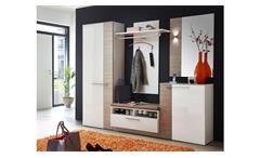 Garderobenset 1 Duo Garderobe Flurmöbel in weiß Hochglanz und Taupe mit LED