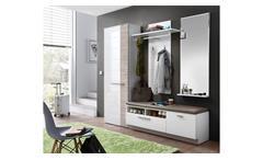 Garderobenset 2 Duo Garderobe Flurmöbel in weiß Hochglanz und Taupe