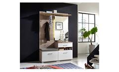 Garderobe Set Plus Schuhschrank Spiegel Flurmöbel weiß und Silbereiche mit LED