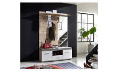 Garderobe Set Plus Schuhbank Spiegel Flurmöbel weiß und Silbereiche mit LED