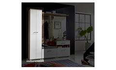 Garderobenschrank Plus Schuhschrank Schrank Flurmöbel in weiß und Silbereiche