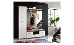 Garderobe 4 Set Plus Schuhschrank Spiegel Flurmöbel weiß und Silbereiche mit LED