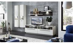 Wohnwand 1 Tacomas Anbauwand Wohnzimmer Wohnkombi in weiß und grau matt mit LED