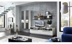 Wohnwand 1 Tacomas Anbauwand Wohnzimmer Wohnkombi in grau und weiß matt mit LED