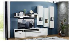 Wohnwand 2 Tacomas Anbauwand Wohnzimmer Wohnkombi in weiß und grau matt mit LED