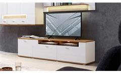 TV-Board Madisons Lowboard Unterschrank weiß Hochglanz matt Eiche hell LED 190
