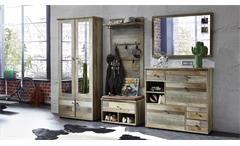 Garderobenset Bonanza Schrank Schuhschrank Paneel Spiegel Bank Driftwood