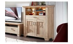 Highboard BRISTOL Stauraumelement in Gran Oak hell inklusive LED