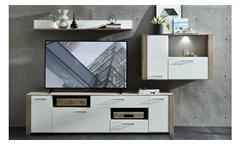 Wohnwand FRISKO Anbauwand weiß matt und Silbereiche inklusive LED