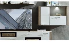 Wohnwand Frisko Anbauwand Wohnzimmermöbel weiß matt und Silbereiche mit LED